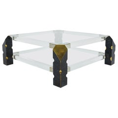 1960s Brass and Lucite Coffee Table