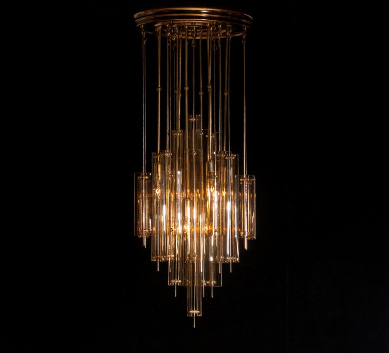 1960s Brass Chandelier with Smoked Glass by Verner Panton For Sale 4