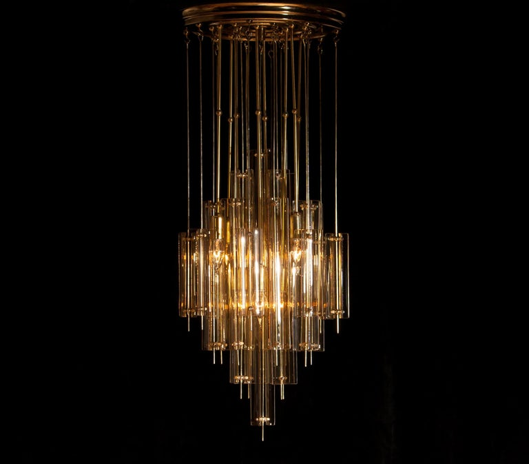 1960s Brass Chandelier with Smoked Glass by Verner Panton For Sale 5