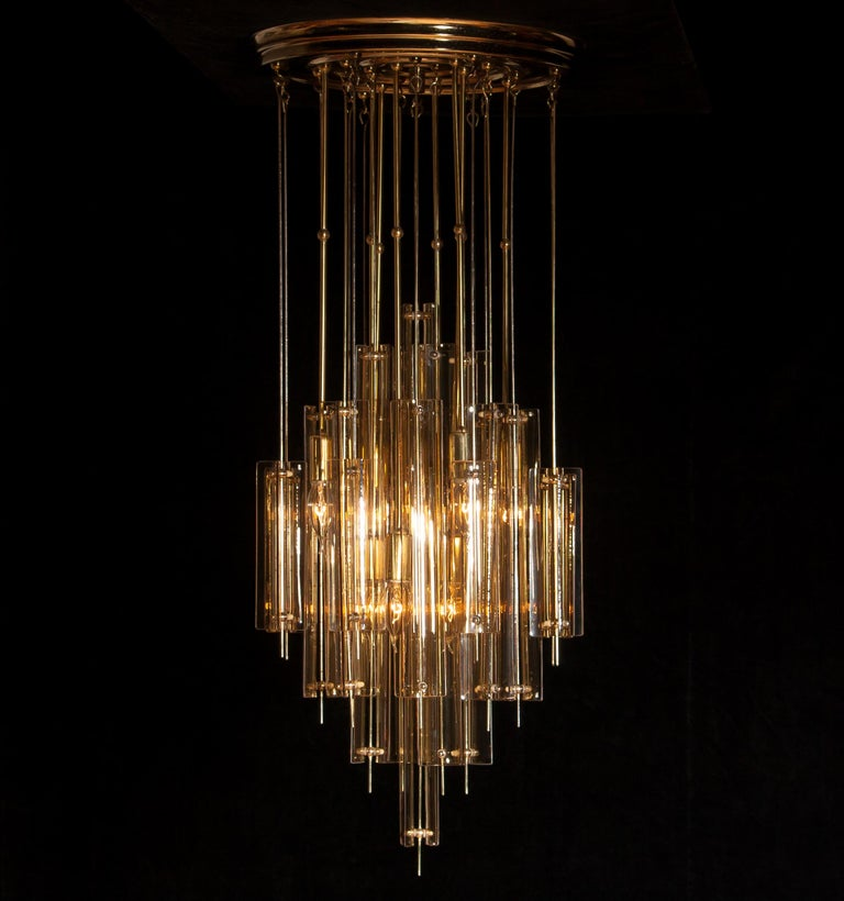 1960s Brass Chandelier with Smoked Glass by Verner Panton For Sale 6