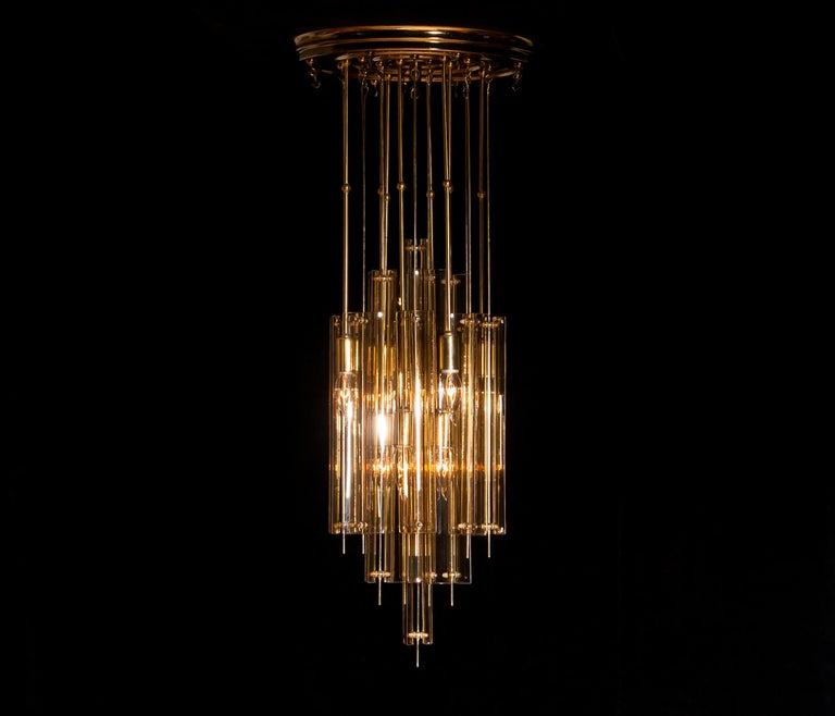1960s Brass Chandelier with Smoked Glass by Verner Panton For Sale 8