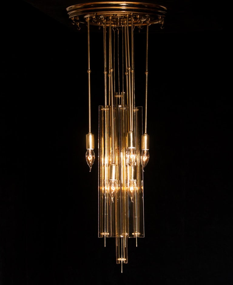 1960s Brass Chandelier with Smoked Glass by Verner Panton For Sale 9