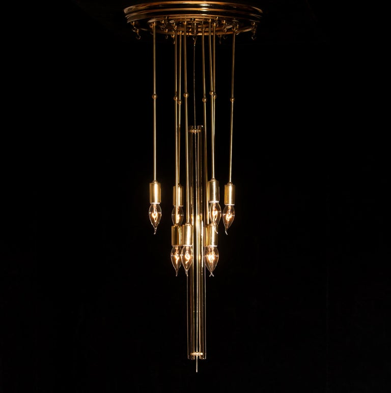 1960s Brass Chandelier with Smoked Glass by Verner Panton For Sale 10