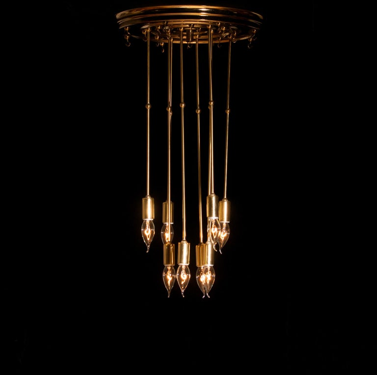 1960s Brass Chandelier with Smoked Glass by Verner Panton For Sale 11