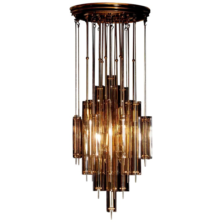Mid-Century Modern 1960s Brass Chandelier with Smoked Glass by Verner Panton For Sale