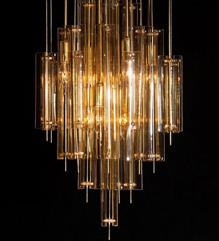 1960s Brass Chandelier with Smoked Glass by Verner Panton In Good Condition For Sale In Silvolde, Gelderland
