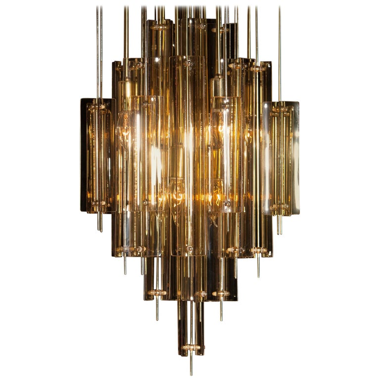 Mid-20th Century 1960s Brass Chandelier with Smoked Glass by Verner Panton For Sale