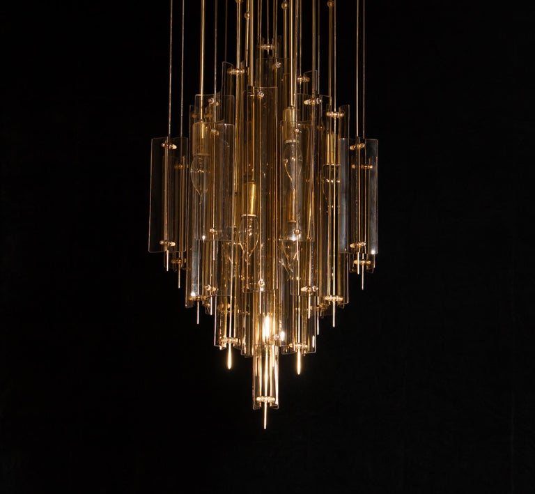1960s Brass Chandelier with Smoked Glass by Verner Panton For Sale 1