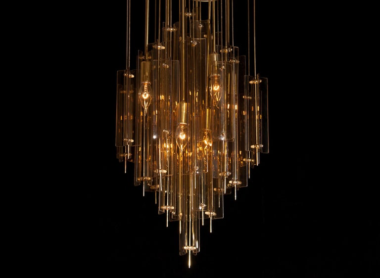 1960s Brass Chandelier with Smoked Glass by Verner Panton For Sale 2