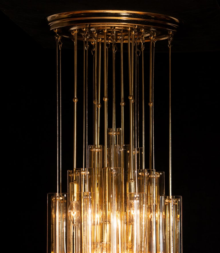 1960s Brass Chandelier with Smoked Glass by Verner Panton For Sale 3