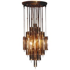 1960s Brass Chandelier with Smoked Glass by Verner Panton