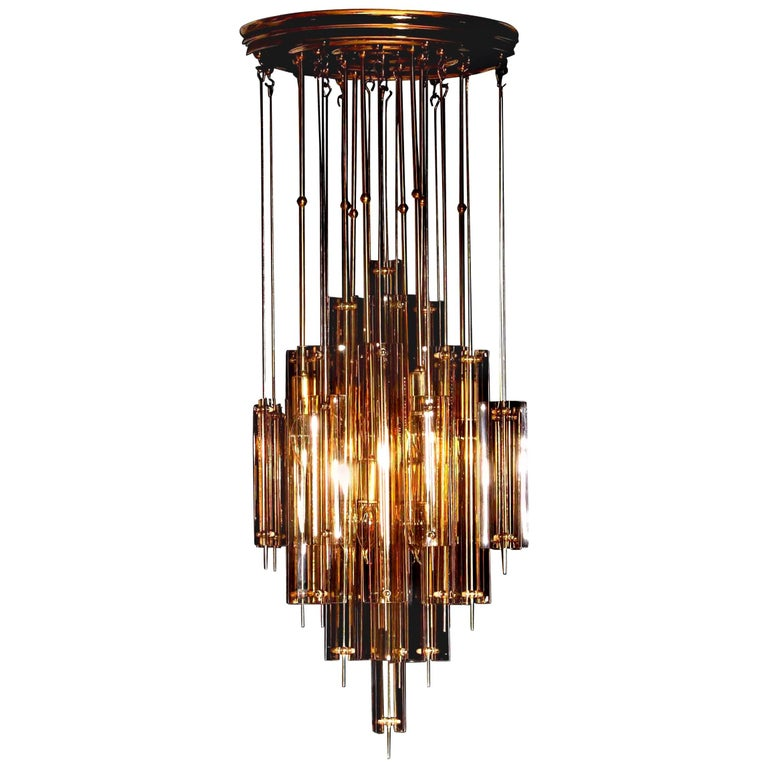 1960s Brass Chandelier with Smoked Glass by Verner Panton For Sale