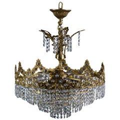 1960s Brass Chandelier with Swarovski Crystals