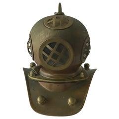 1960s Brass & Copper Scuba Diving Helmet Sculpture