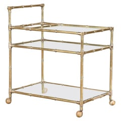 1960s Faux Bamboo and Brass Three-Tier Bar Cart