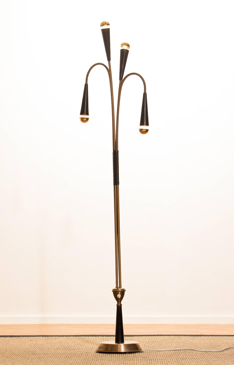 Metal 1960s Brass Floor Lamp by Oscar Torlasco for Lumi For Sale