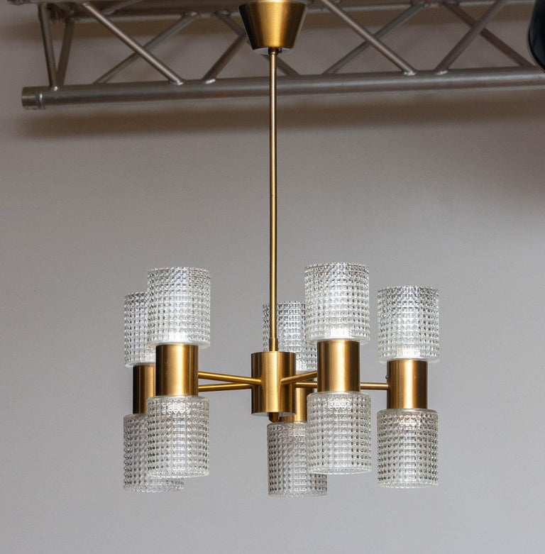 Scandinavian Modern 1960's Brass Glass Up and Down Light Chandelier by Konsthantverk Tyringe, Sweden For Sale