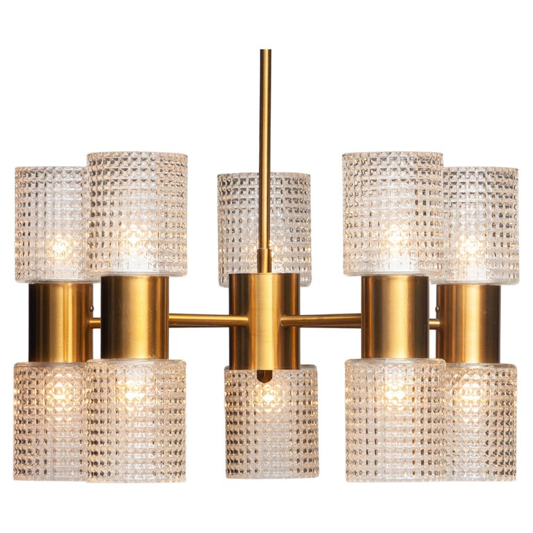 1960's Brass Glass Up and Down Light Chandelier by Konsthantverk Tyringe, Sweden For Sale