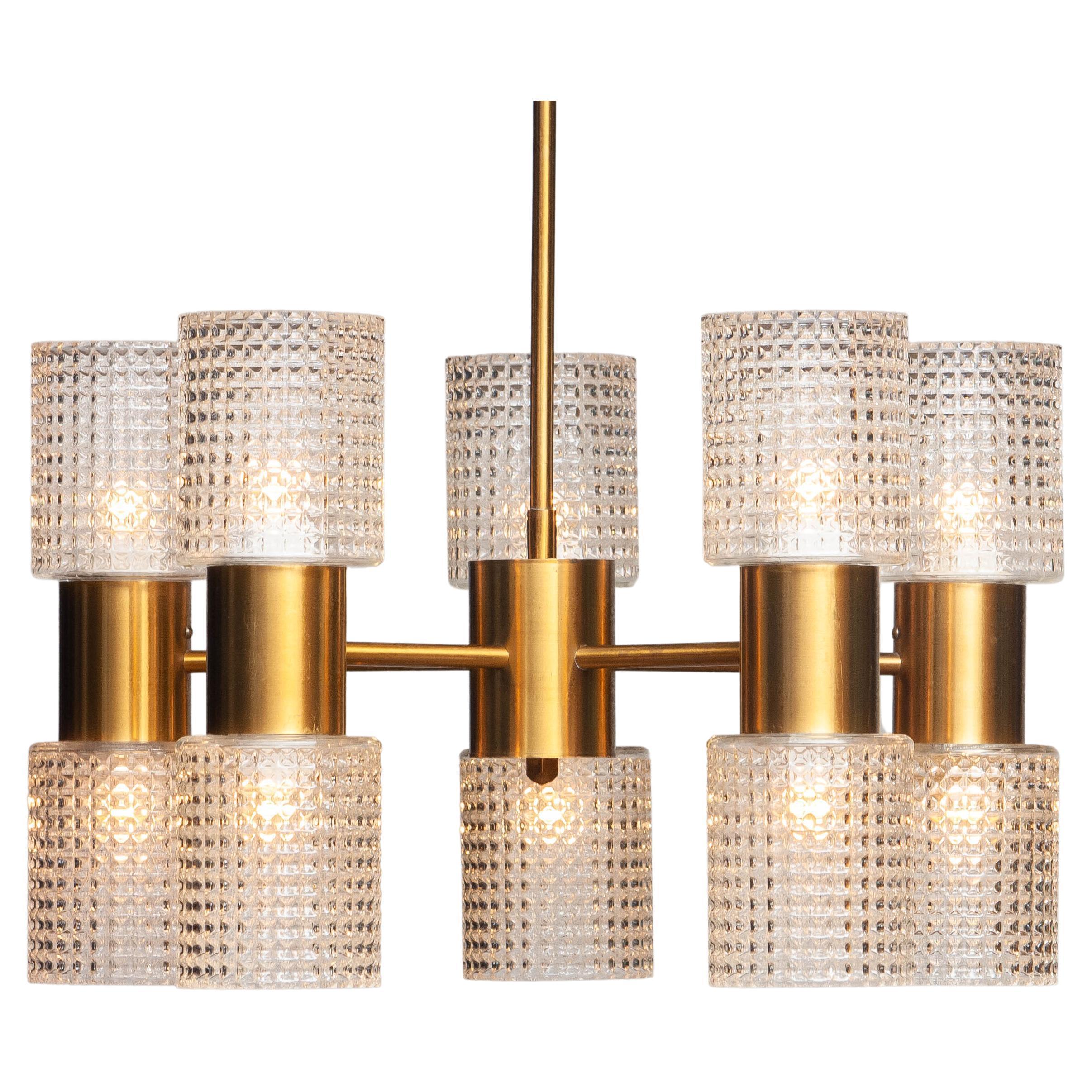 1960's Brass Glass Up and Down Light Chandelier by Konsthantverk Tyringe, Sweden