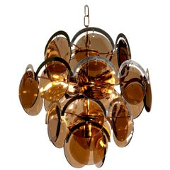 1960s Brass Gold Colored and Smoked Glass Chandelier by Gino Vistosi, Italy