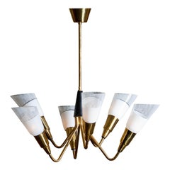 1960s, Brass Italian Modernist Spoetnik Chandelier with Frosted Crystral