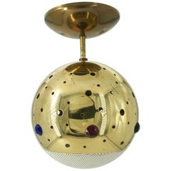 1960s Brass Jeweled Pendant Lamp Pierced Globe Gem Ceiling Light Interior Design