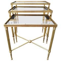 1960s Brass Nesting Table Set by Maison Jansen of France