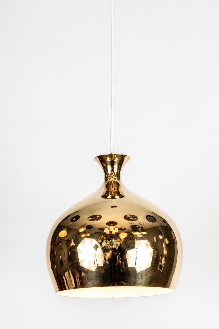 Swedish 1960s Brass 'Onion' Pendants by Helge Zimdal for Falkenberg For Sale