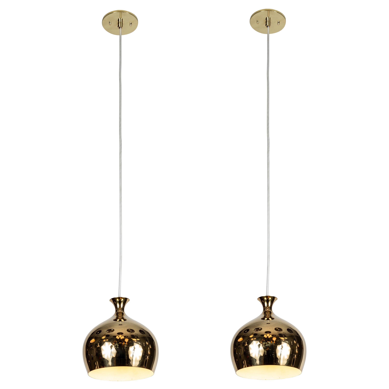 1960s Brass 'Onion' Pendants by Helge Zimdal for Falkenberg