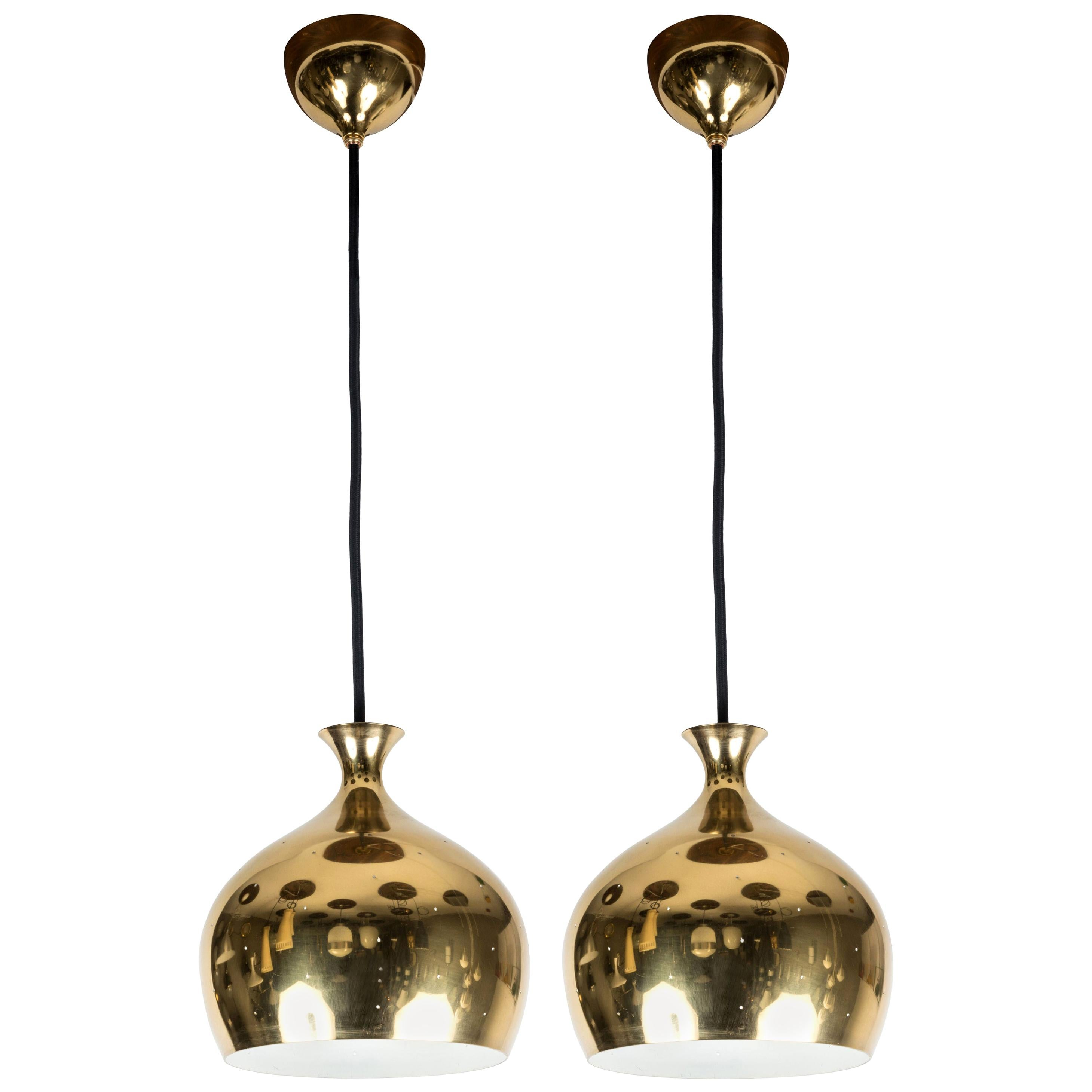 1960s Brass Perforated 'Onion' Pendants by Helge Zimdal for Falkenberg