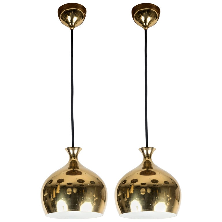 1960s Brass Perforated 'Onion' Pendants by Helge Zimdal for Falkenberg For Sale
