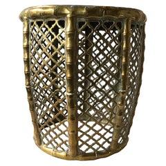 1960s Brass Faux Bamboo  Garden Seat