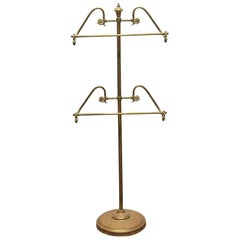 1960s Brass Silent Butler or Valet Men's Suit Stand with 2 Racks Original Patina