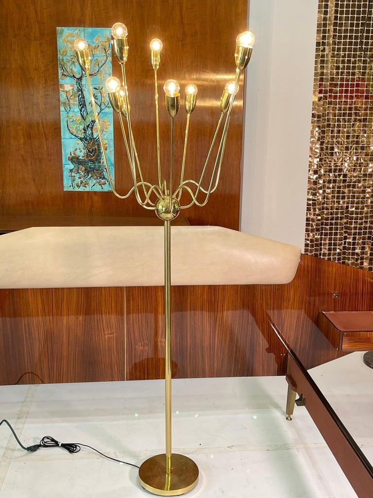 1960's Brass Sputnik Floor Lamp For Sale 12