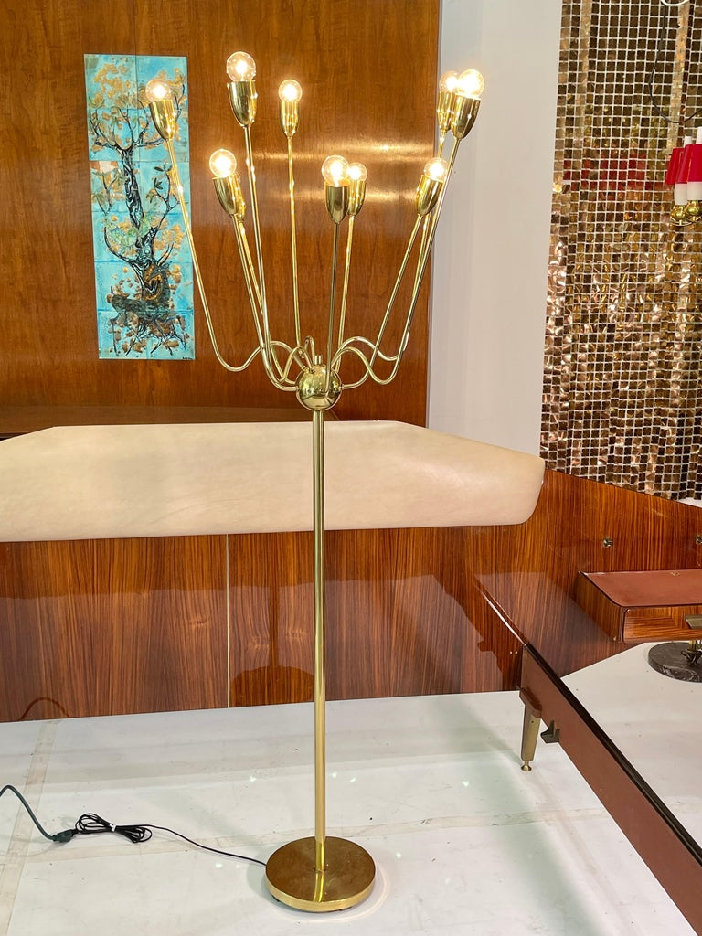 1960's Brass Sputnik Floor Lamp For Sale 13