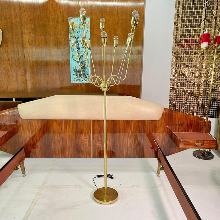Unusual 1960's vintage sputnik floor lamp of all brass construction featuring a 28
