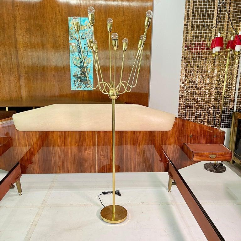 Mid-Century Modern 1960's Brass Sputnik Floor Lamp For Sale