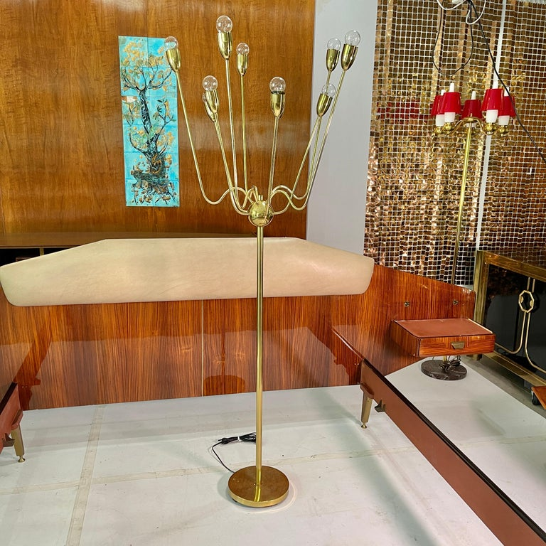 American 1960's Brass Sputnik Floor Lamp For Sale