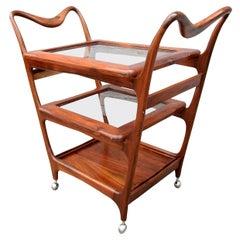 1960s Brazilian Jacaranda Wood Bar Cart by Carlo Hauner with Three Shelves