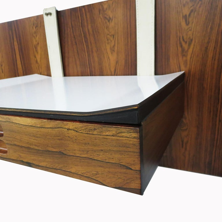 1960s Brazilian King Size Headboard in Rosewood and Leather In Good Condition For Sale In North Hollywood, CA