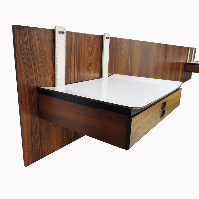 1960s Brazilian King Size Headboard in Rosewood and Leather For Sale 3