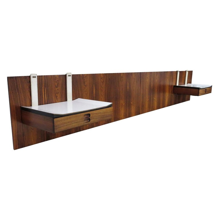 1960s Brazilian King Size Headboard in Rosewood and Leather For Sale
