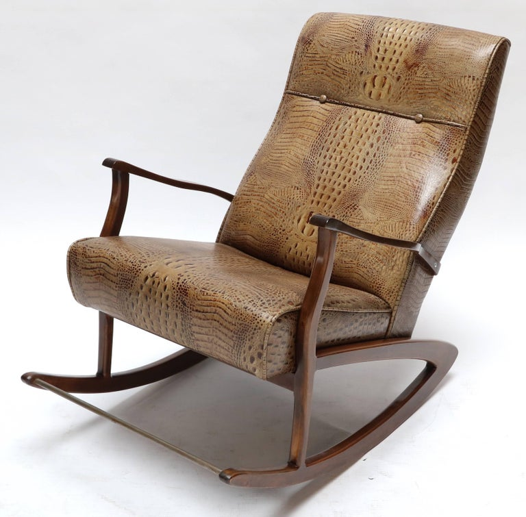 1960s Brazilian rocking chair upholstered in crocodile embossed leather.