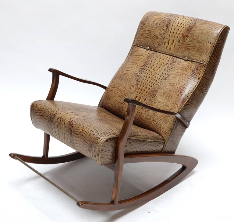 Mid-Century Modern 1960s Brazilian Rocking Chair in Crocodile Embossed Leather For Sale
