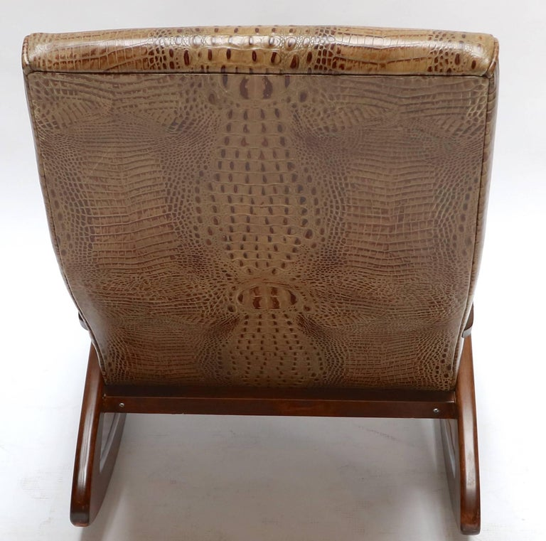 1960s Brazilian Rocking Chair in Crocodile Embossed Leather In Good Condition For Sale In Los Angeles, CA