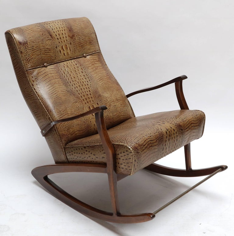 Mid-20th Century 1960s Brazilian Rocking Chair in Crocodile Embossed Leather For Sale