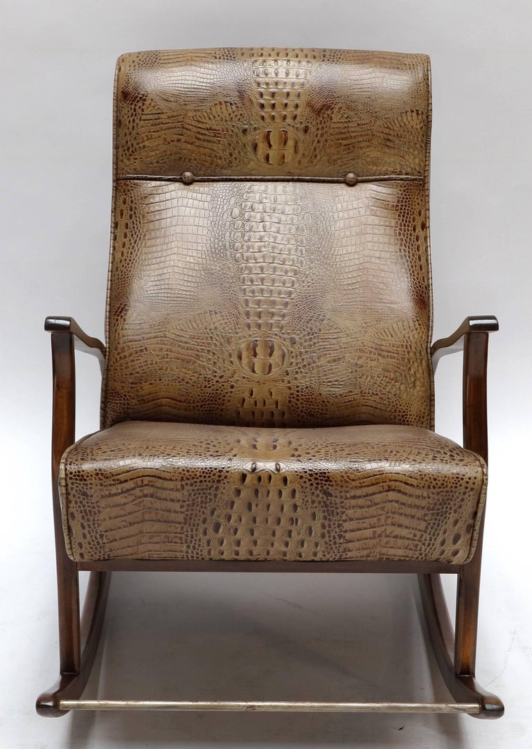 1960s Brazilian Rocking Chair in Crocodile Embossed Leather For Sale 1