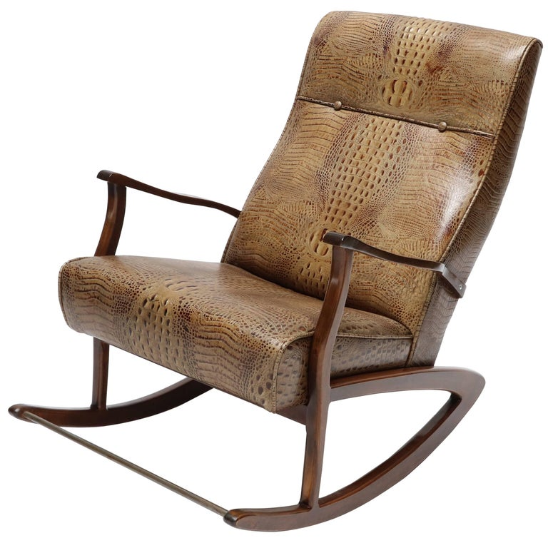 1960s Brazilian Rocking Chair in Crocodile Embossed Leather For Sale