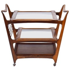 1960s Brazilian Rosewood and Glass Giuseppe Scapinelli Drinks Trolley Bar Cart