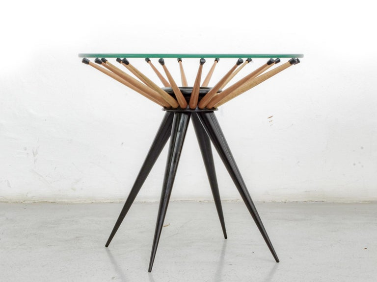 Side table made in caviúna wood and glass, circa 1960, by Giuseppe Scapinelli.   Scapinelli was originally from Italy, but it was in Brazil, during the post-war period, that he created his most important pieces, bringing a different perspective to